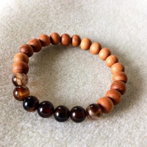 Black agate and sandalwood power bracelet