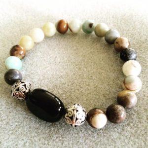 Flower amazonite power bracelet with black obsidian