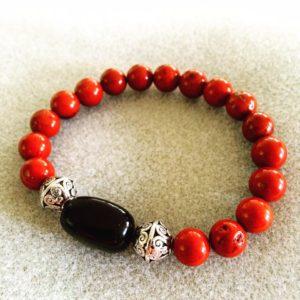 Red Jasper power bracelet with black obsidian