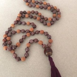 Purple aventurine and rudraksha mala