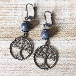 Kashgar garnet tree of life earrings
