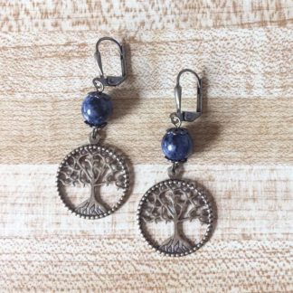 dumortierite earrings with tree of life