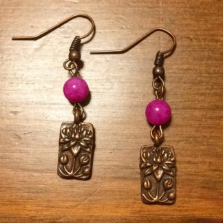 Antique Copper Lotus Flower earrings with Malaysia Jade