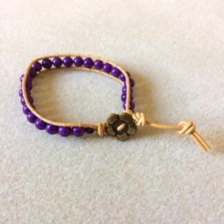 Mountain Jade button wrap bracelet