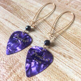 Purple Fender Pick Earrings
