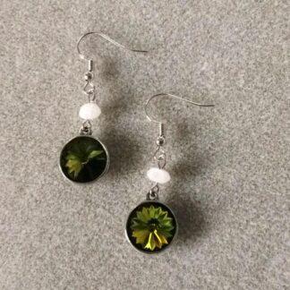 Olive rivoli and moonstone earrings